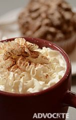 The pumpkin latte comes topped with whipped cream and a sprinkling of cinnamon. Photo by Mark Davis