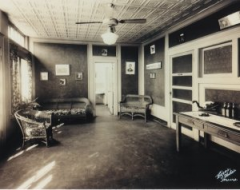 An old photo of the waiting room, which is still the waiting room today.