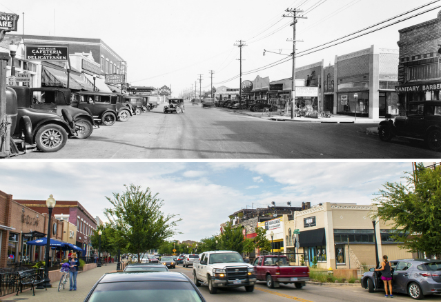 Much has changed but some things have stayed the same on Lowest Greenville, as evidenced by these circa 1930 and present-day photo by Danny Fulgencio that look north onto the avenue. (Historical image from the collections of the Texas/Dallas History and Archives Division, Dallas Public Library)