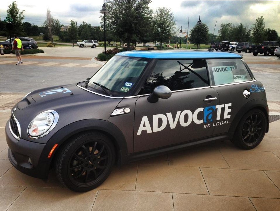 The Advocate's Mini Cooper turns up at various neighborhood events and locations.