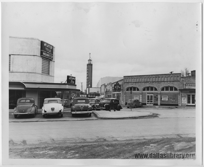 The Lakewood Shopping Center structures haven't changed much since the'40s and '50s, but its tenants have — except for the Lakewood Theater. (Interstate Theatre Collection photo from the collections of the Texas/Dallas History and Archives Division, Dallas Public Library.)
