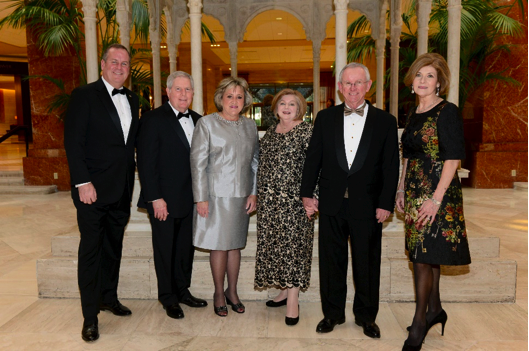 From left:  The Catholic Foundation President and CEO Matt Kramer; Bill and Kasey Hollon, Chairs of the 2015 Catholic Foundation Award Dinner; Barbara Leyden; Ed Leyden, 2015 Catholic Foundation Award Honoree; and Vicky Lattner, Chairman of the Foundation's Board of Trustees, gather at the Hilton Anatole before the Feb. 6 event begins.  Ed Leyden, president at Bishop Lynch High School, received the Catholic Foundation Award for his commitment and service to the Catholic community.