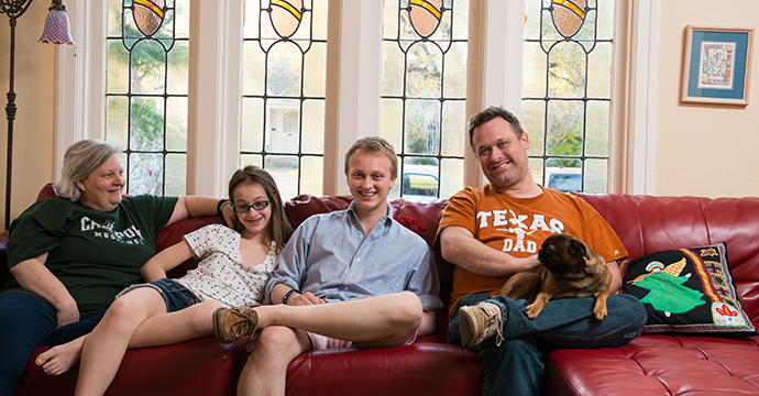 The Milici family, from left: Mother Marjorie, youngest sister Amanda, Oliver and father Justin. Not pictured is the Milici's 20-year-old daughter Hannah, a sophomore at the University of Texas at Austin: Photo by Sheryl Lanzel