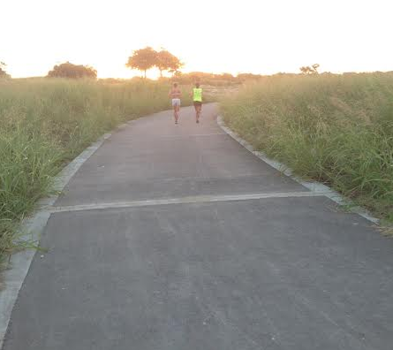 Runners Jennifer Stern and Christell Baum test out the new trail at White Rock Lake.
