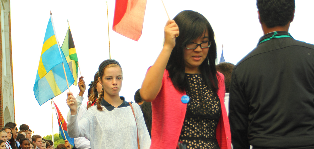 J.L. Long students carry flags of the world: Photo courtesy of Dallas ISD