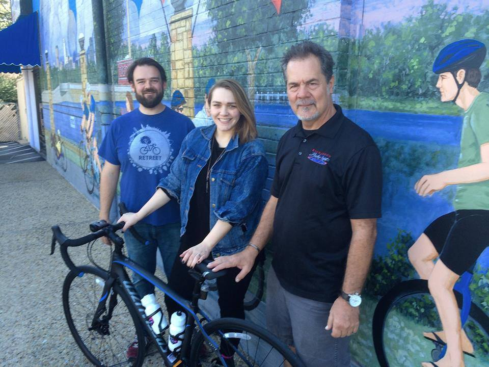 Cyclist Deb Culbertson gets a brand new bike from Richardson Bike Mart: Photo from Facebook