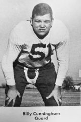 "Bill ""Bulldog"" Cunningham, circa 1947, in his Woodrow Wilson High School football uniform."
