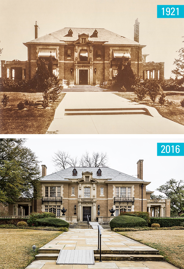 "The Aldredge House, built in 1917, is pictured here at left as it stood in 1921. At far left, Frank Richards' photo of the stately Swiss Avenue estate today. Both are featured in the ""Then and Now"" photo exhibition on display for free at St. Matthews Cathedral from May 5 to June 12. It features work by local photographers who captured some of Dallas' most historic spots, some of which are juxtaposed with historic photos of the same spot."