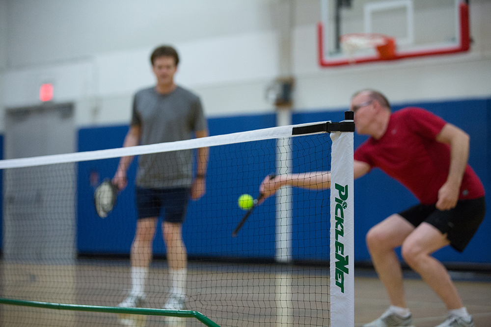 Pickleball players volley Wiffle balls back and forth at the Ridgewood Belcher Recreation Center in Ridgewood Park. (Photos by Rasy Ran)