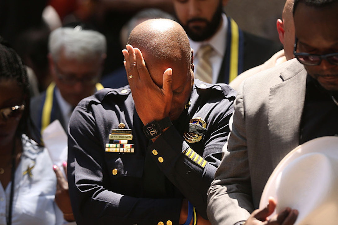 Dallas Police Chief David Brown pauses at a prayer vigil following the deaths of five police officers last night during a Black Live Matter march on July 7, 2016.  (Photo by Spencer Platt/Getty Images)