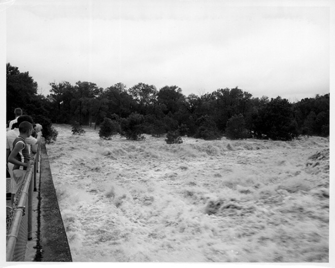 Clockwise: Flooding at White Rock Lake in 1962. (Courtesy of Dallas City Archives)