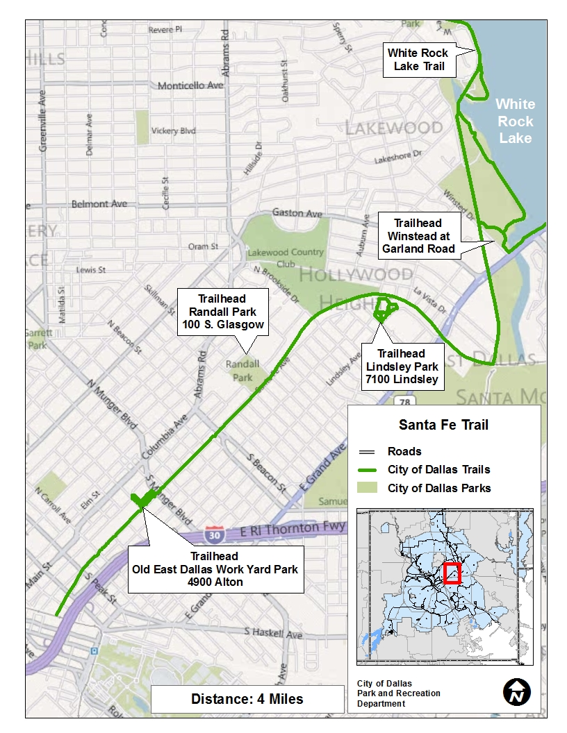 See a larger Santa Fe Trail map at happytrailsdallas.com/trail-maps (Map courtesy of the City of Dallas)