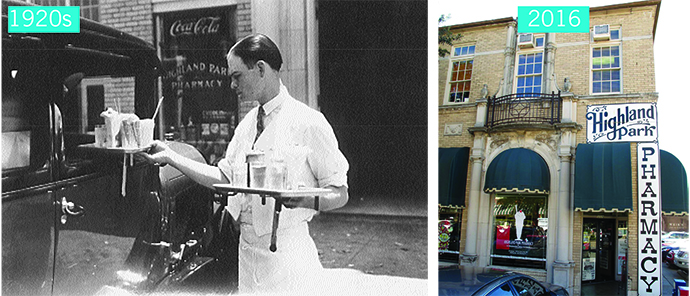 Highland Park Pharmacy 1920's and today.