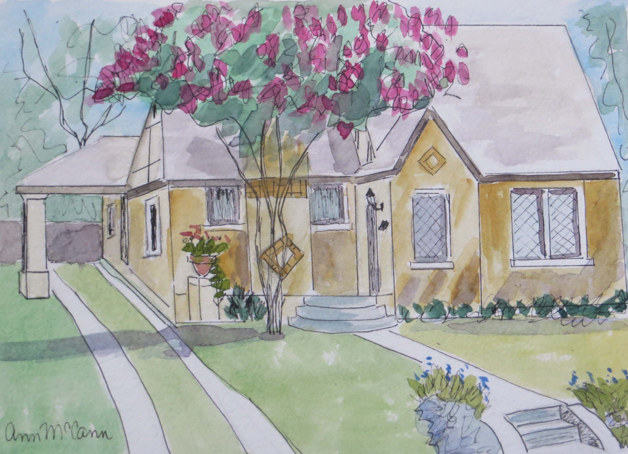 The home at 5219 Goodwin can be seen on the Vickery Place Home Tour. (Painting by ann McCann)