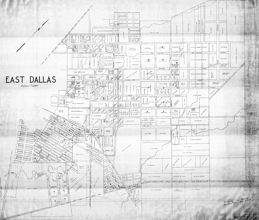 A map of property owners in East Dallas in 1889, one year before it was annexed into the City of Dallas. Courtesy of Dallas Municipal Archives, City of Dallas