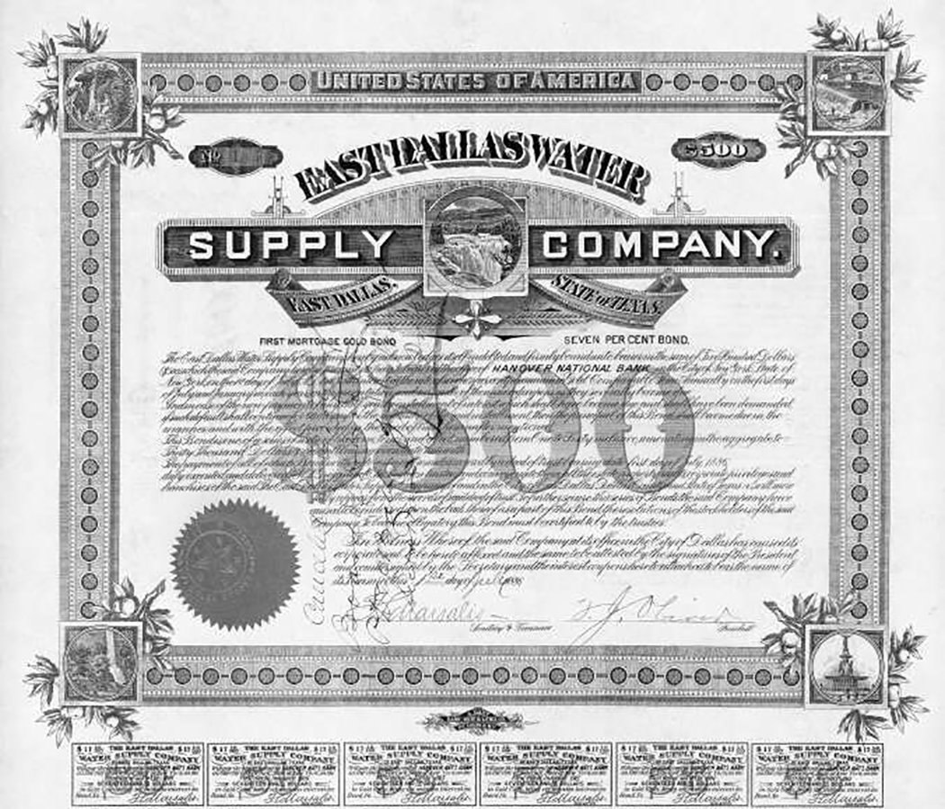 Certificate for shares in the East Dallas Water Supply Company, signed by Thomas Marsalis, developer of Oak Cliff.
