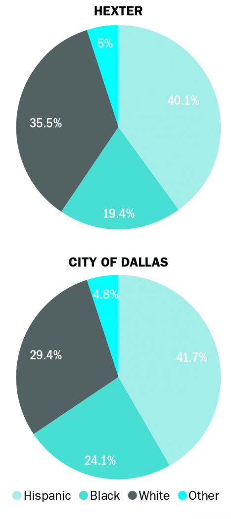 Ethnically diversity of Dallas ISD compared to Hexter Elementary
