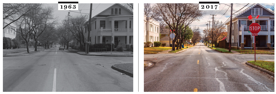 Fitzhugh at Worth intersecton in 1963 and 2017. (2017 Photo by Danny Fulgencio)