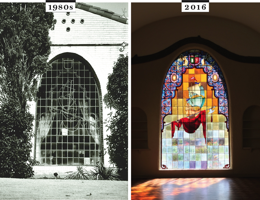 The colorful parabolic window in Outsell House in 1980 and 2017. 2017 Photo by Danny Fulgencio