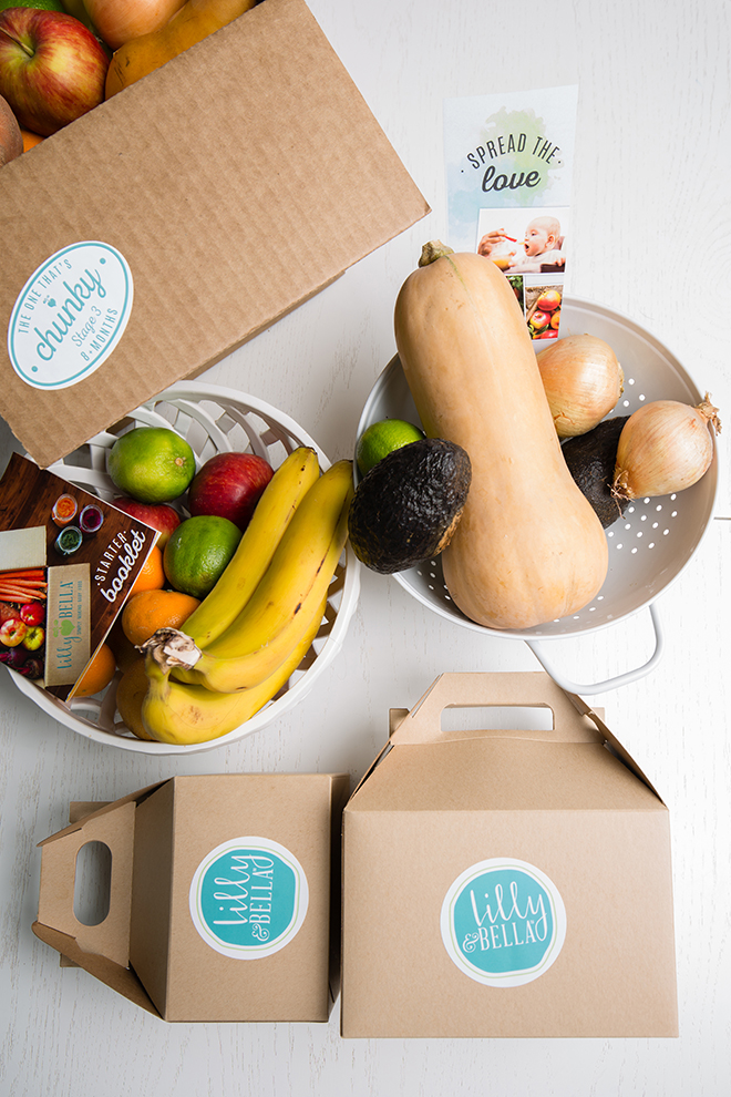 Fresh organic produce is delivered to homes weekly with 2-3 recipes for parents with busy schedules. Photo by Rasy Ran