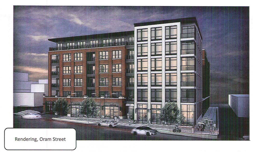 An architectural rendering of the proposed six-story building at 6337 Oram.
