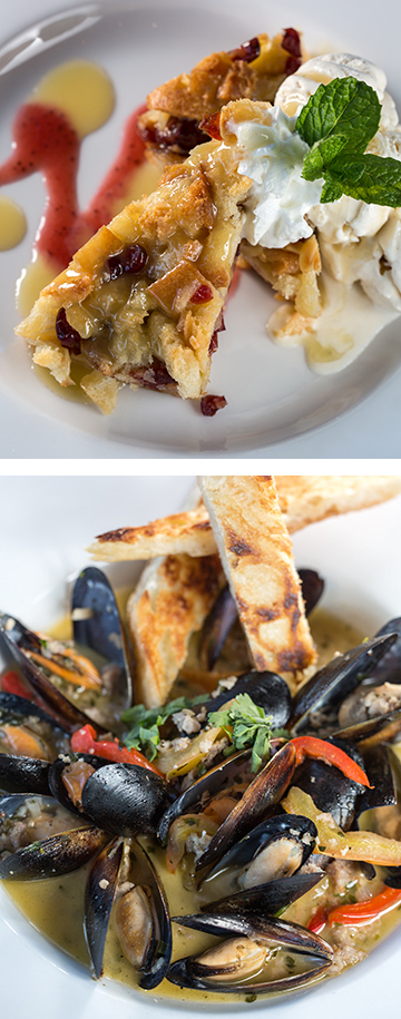 A rich bread pudding and mussels. (Photos by Kathy Tran)
