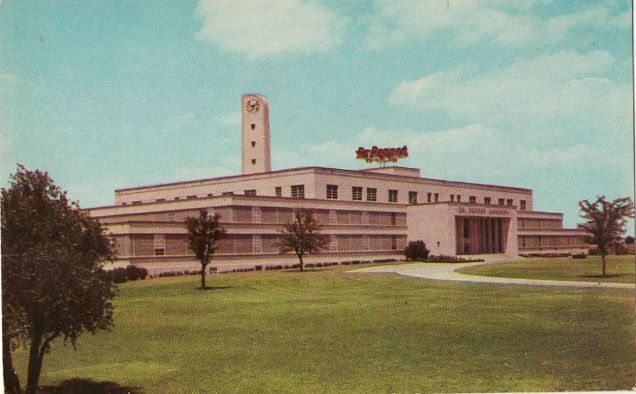 A postcard of the Dr Pepper Headquarters that sat on Greenville Ave.