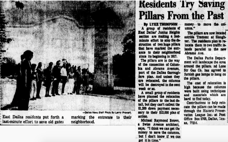 A 1973 Dallas Morning News article captured the neighbors' efforts to protect the classic columns.