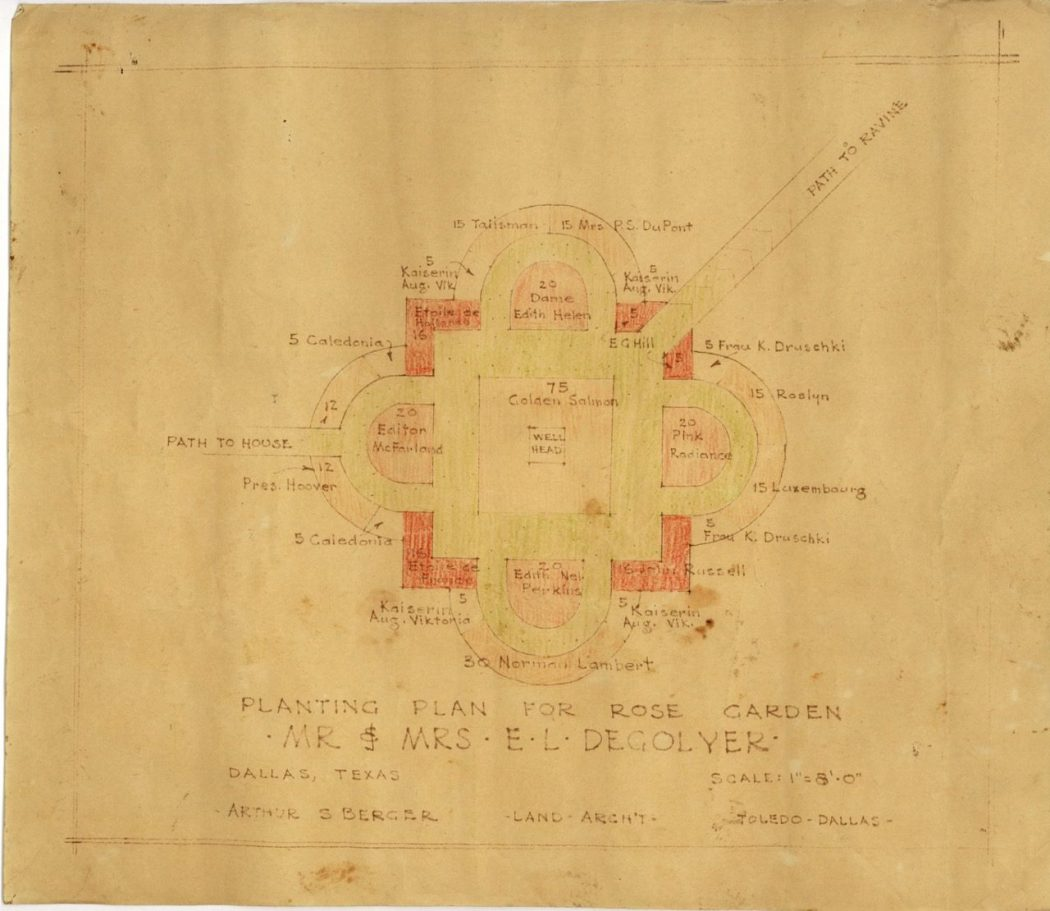 Original landscape architect's drawings of the DeGolyer gardens, which eventually became the Dallas Arboretum. (Courtesy of the Dallas Municipal Archives)