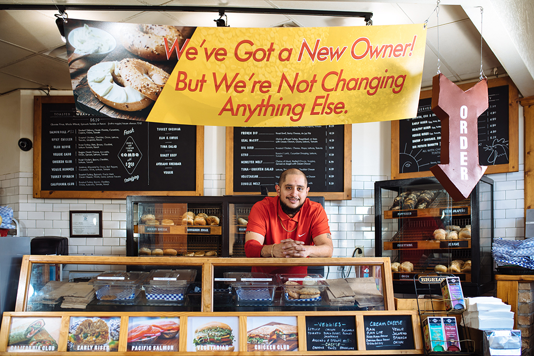 Ruben Gomez went from dishwasher to owner at Benny's Bagels. (Photo by Kathy Tran)