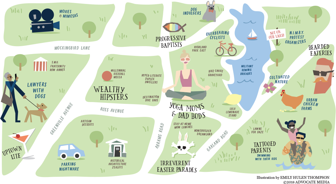 Embrace the neighborhood's character and characters with this fun map
